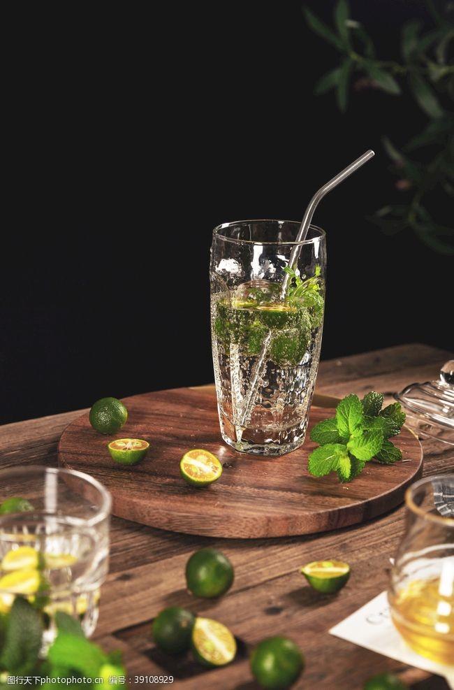 柠檬汁饮品饮料背景海报素材图片