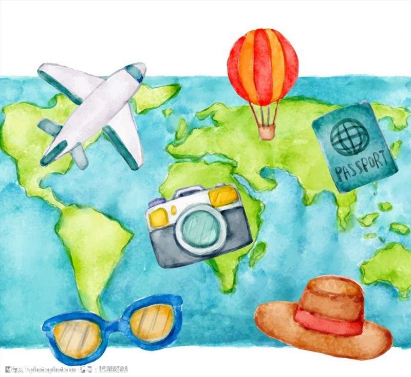 世界地图和旅行元素图片
