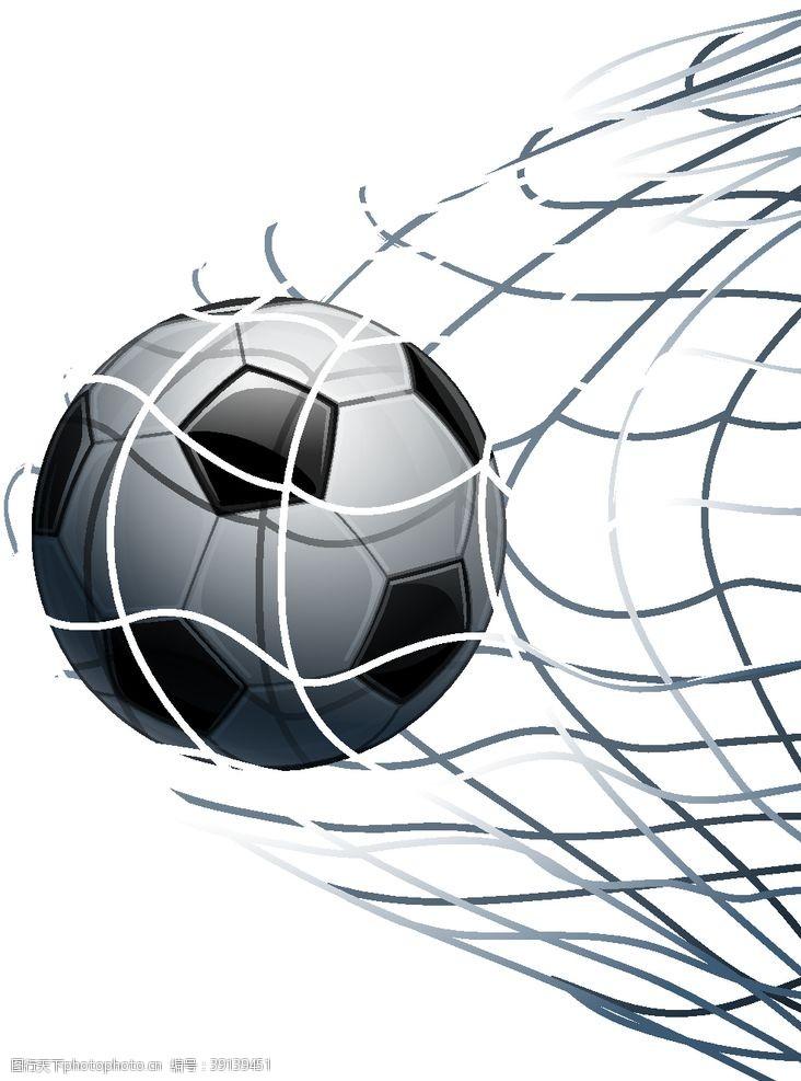 足球射门运动矢量素材图片