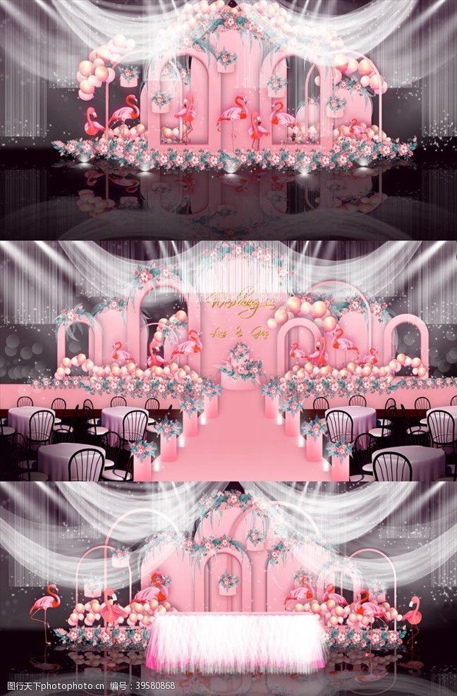 樱花主题粉色气球婚礼图片