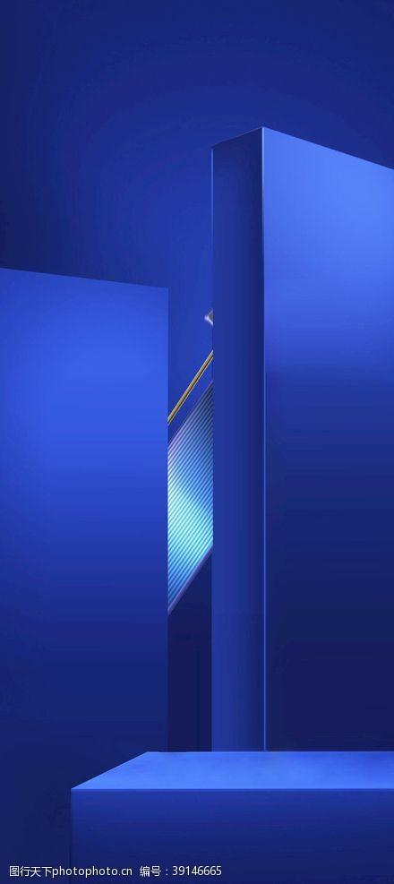 立体空间 蓝色化妆品背景图片