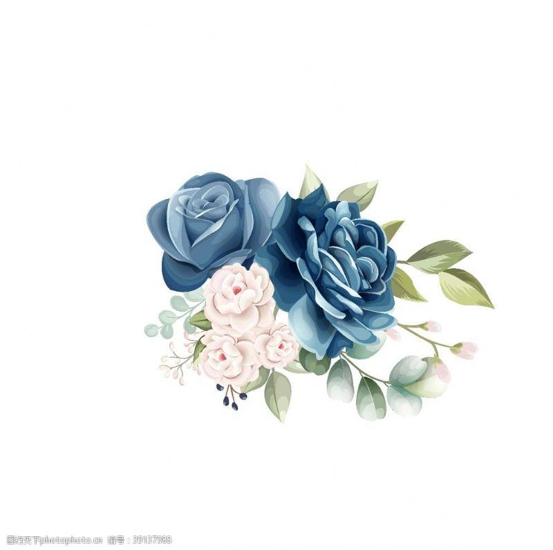 矢量设计 蓝色玫瑰花朵装饰元素图片