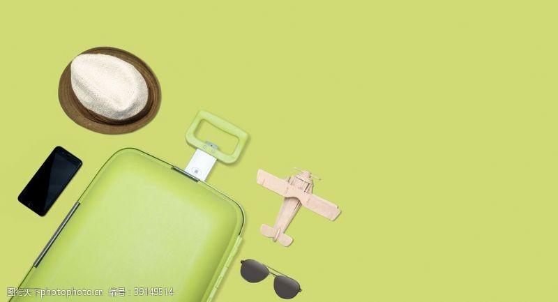 旅行箱 浅绿色旅行主题摄影图片