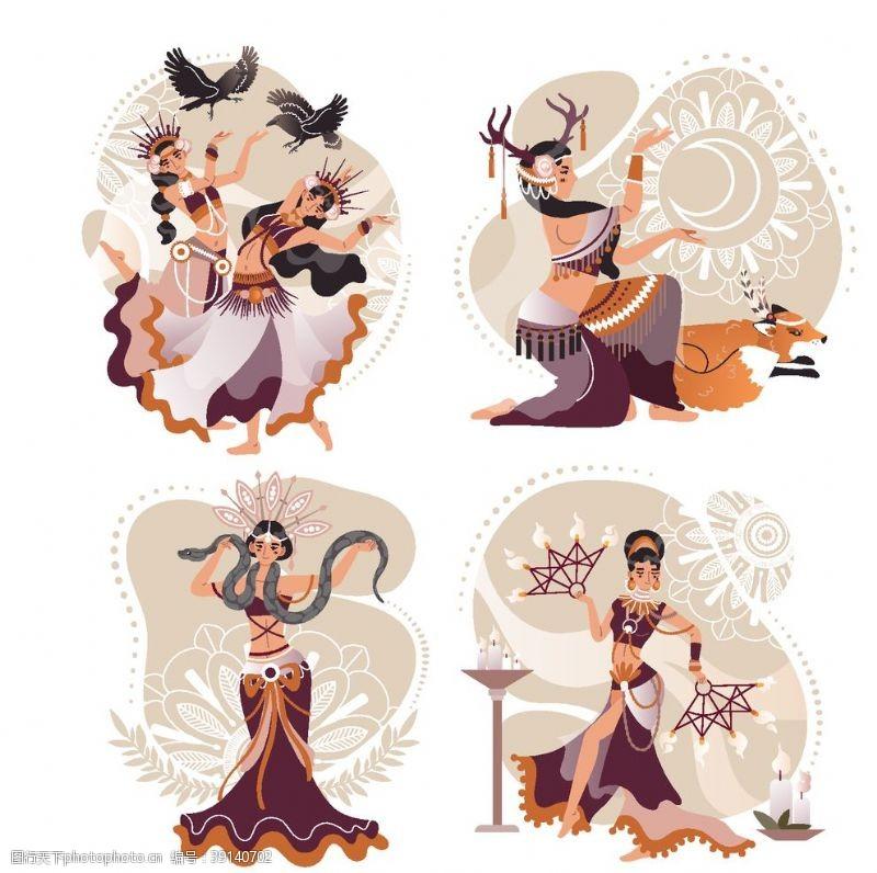矢量设计 少数民族舞蹈人物图片