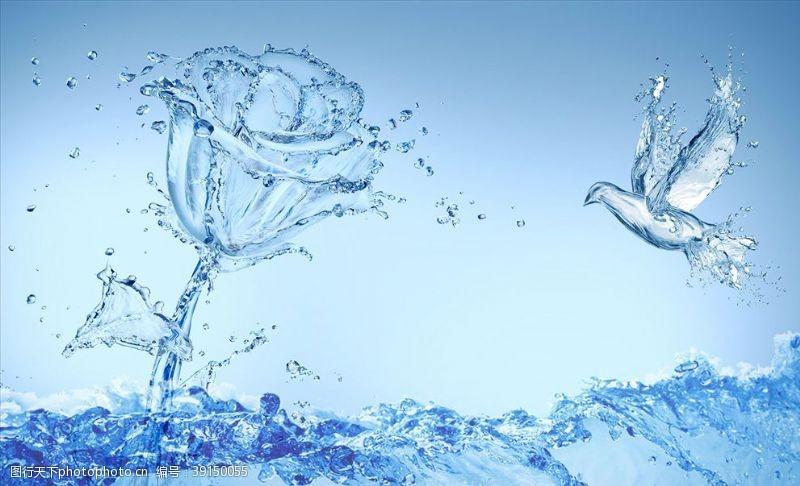 几何线条 水造型鸟水造型玫瑰背景墙图片