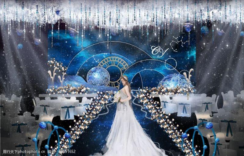 星空婚礼效果图背景图片