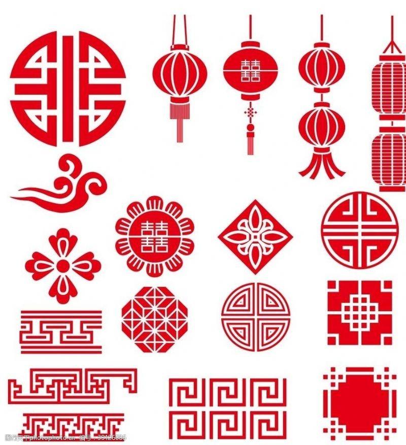 中国中式灯笼祥云等传统纹理元素图片