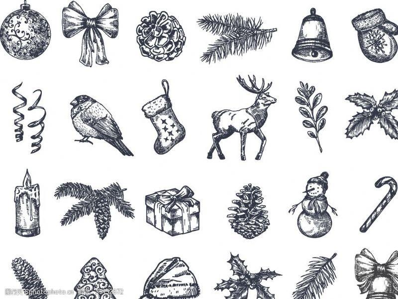 包装设计 圣诞手绘icon图片